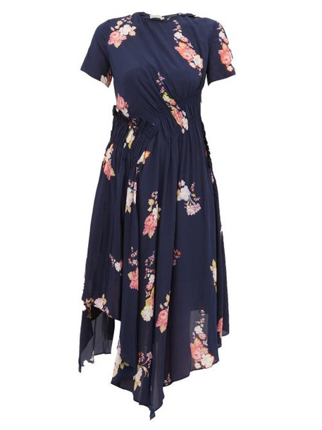 Preen Line - Verna Floral Print Crepe De Chine Midi Dress - Womens - Navy Multi