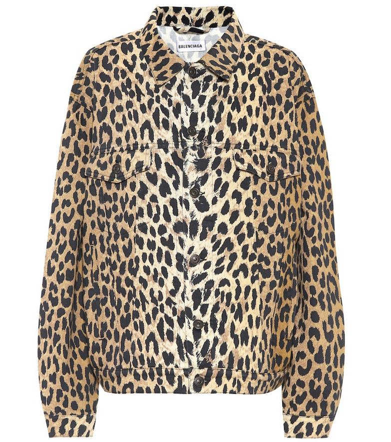 Balenciaga Leopard-print denim jacket in brown