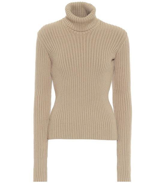 Bottega Veneta Ribbed-knit wool-blend turtleneck sweater in beige