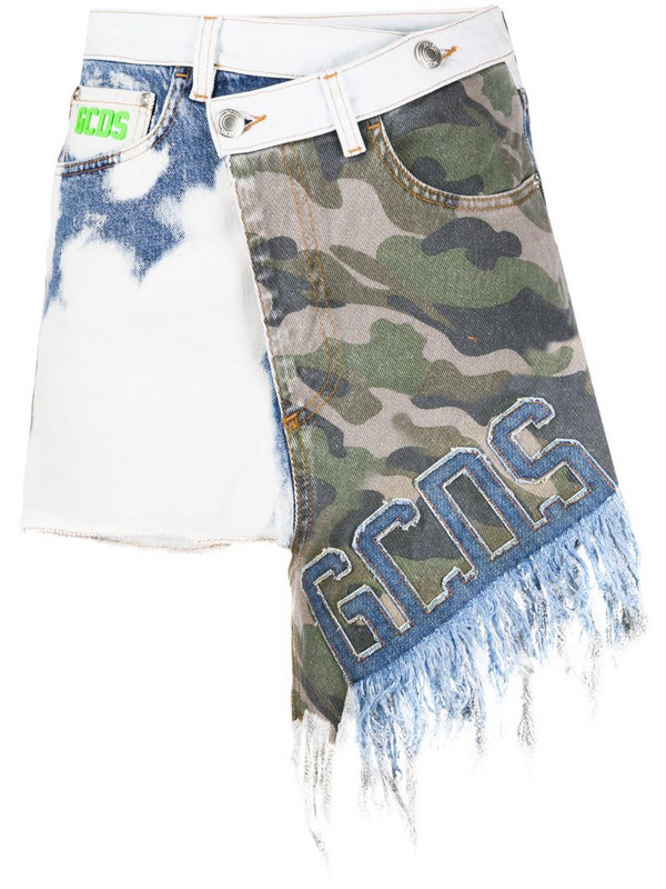 Gcds camouflage-print asymmetric skirt in blue
