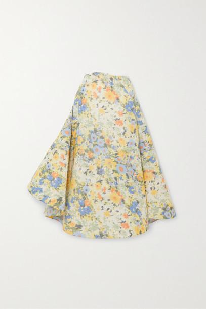 Nina Ricci - Floral-print Taffeta Maxi Skirt - Yellow