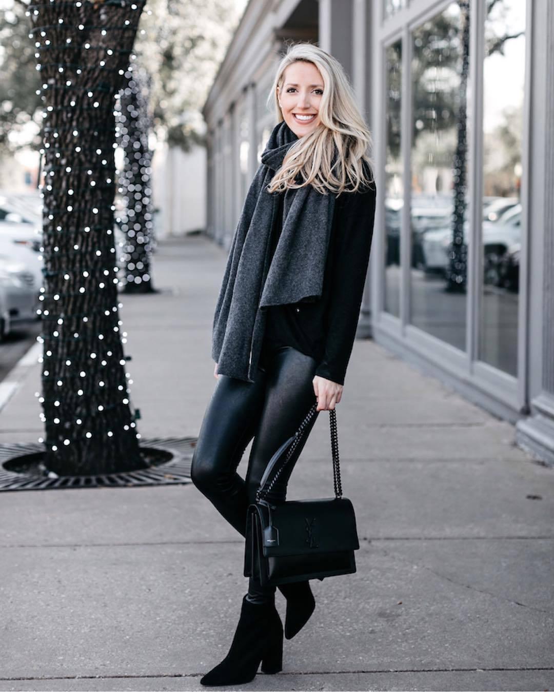 bag shoulder bag black boots ankle boots black leggings black sweater scarf saint laurent ysl bag