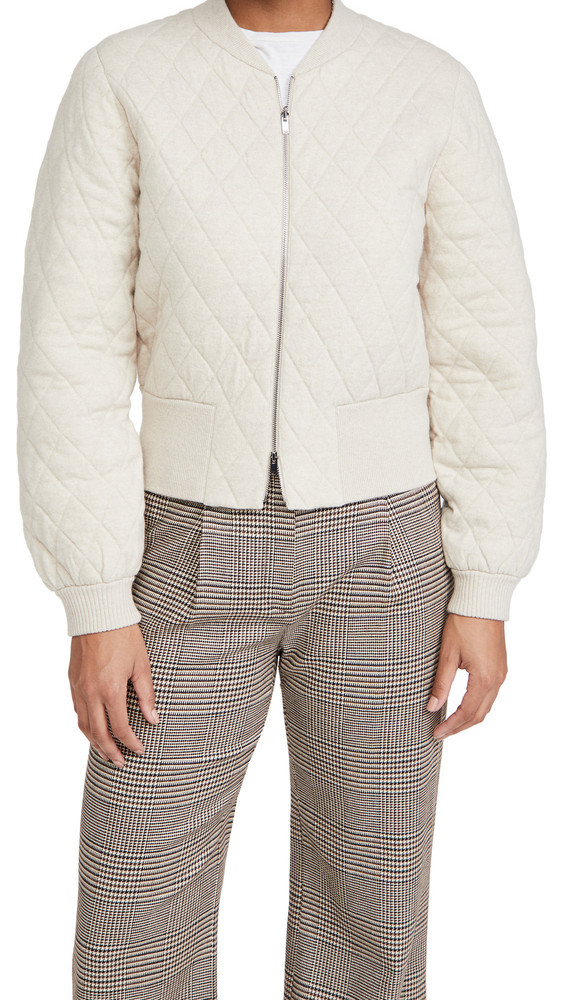 Theory Wool Zip Up Cardigan in ecru