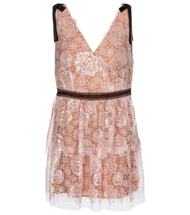 Self-Portrait Starlet lace minidress in pink
