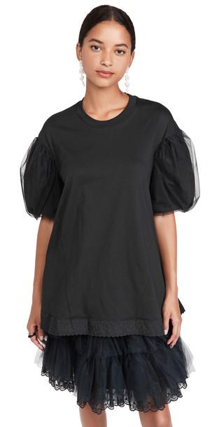 Simone Rocha A-Line T-Shirt with Tulle Overlay Sleeve