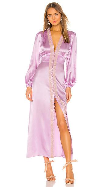 Divine Heritage Lace Trim V Neck Dress in Lavender