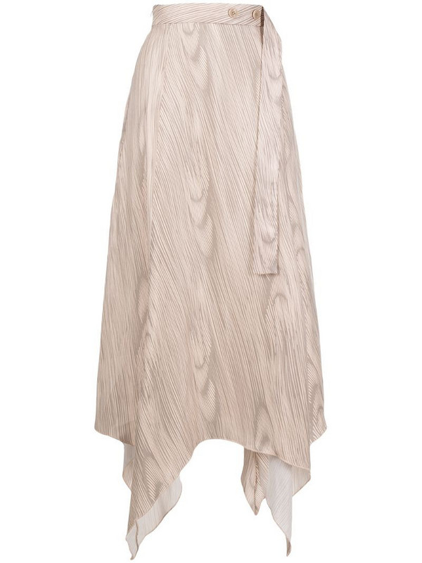 Aeron wave print asymmetric midi skirt in neutrals