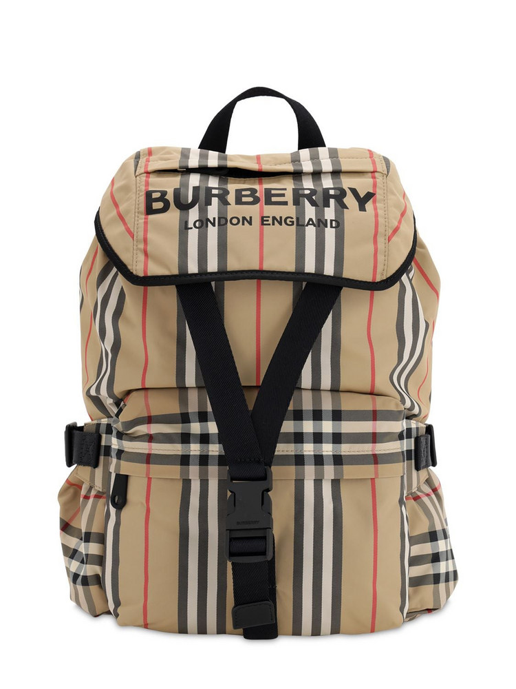 BURBERRY Small Wilfin Check Nylon Backpack in beige