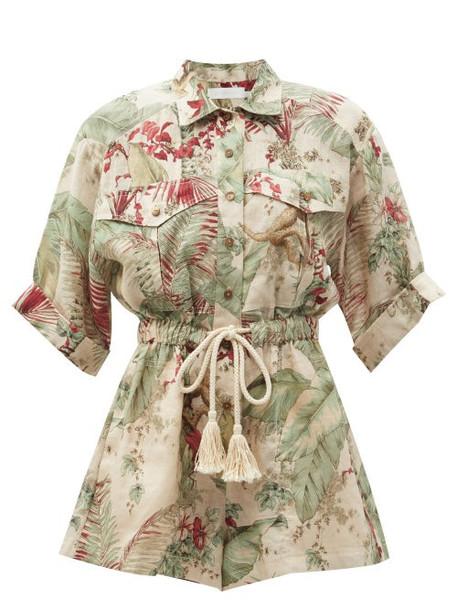 Zimmermann - Cassia Jungle-print Jumpsuit - Womens - Green Multi