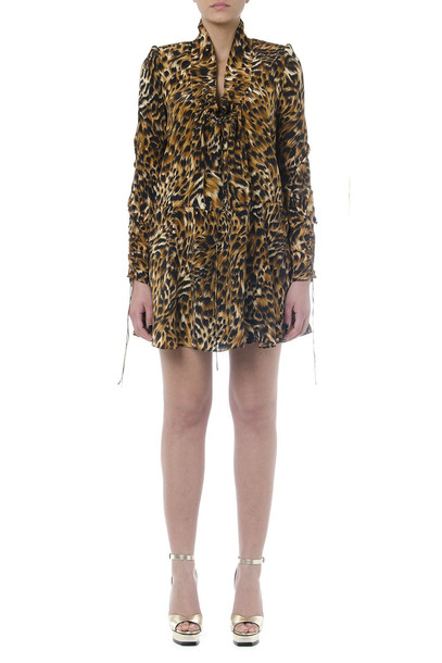 Saint Laurent Brown Leopard Animal Mini Dress