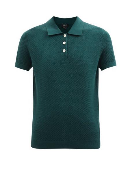 A.P.C. A.P.C. - Maria Knitted Polo Shirt - Womens - Dark Green