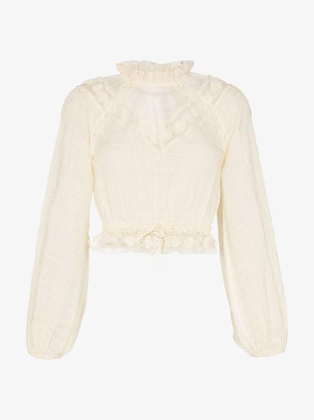 Zimmermann high-neck ruffle chiffon blouse in neutrals