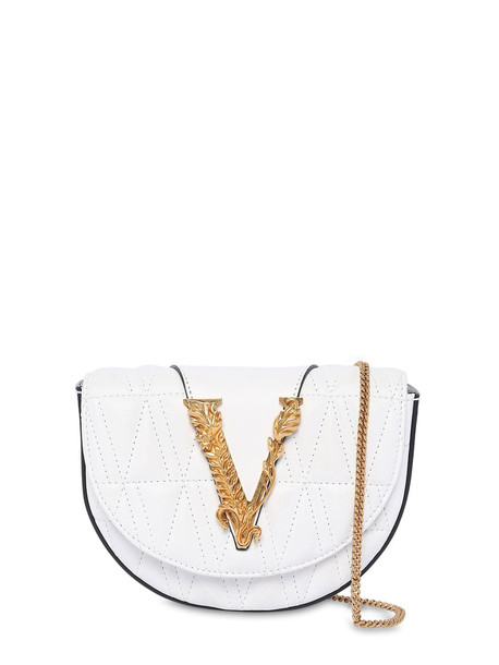 VERSACE Virtus Quilted Leather Belt Bag in white