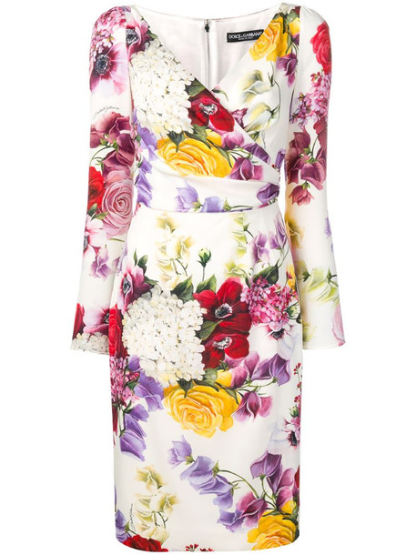 Dolce & Gabbana floral print long-sleeve dress in white