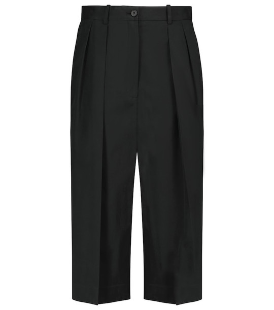 The Row Lisa cotton and cashmere culottes in black
