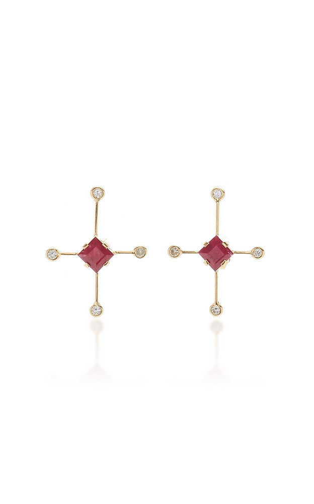 Yi Collection 18K Gold, Ruby And Diamond Earrings in red
