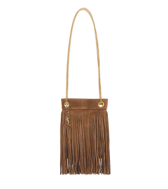 Saint Laurent Grace Small suede tote in brown