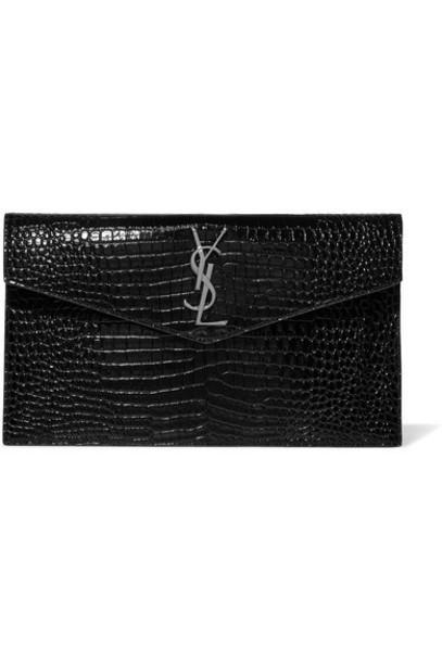 SAINT LAURENT - Uptown Croc-effect Patent-leather Clutch - Black