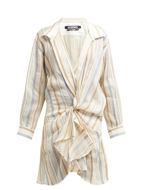 Jacquemus - Alassio Knotted Cotton Blend Shirt Dress - Womens - Beige Multi