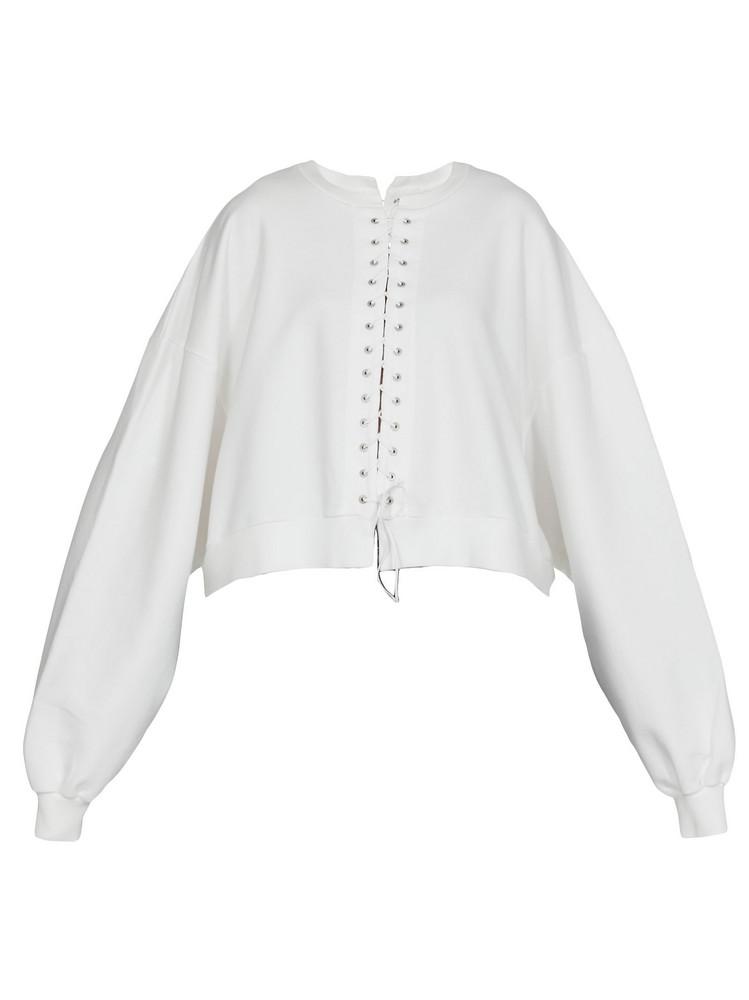 Ben Taverniti Unravel Project Cotton Sweatshirt in white