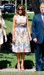 dress,floral,floral dress,midi dress,melania trump,celebrity,first lady outfits