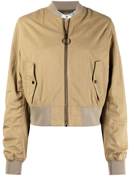 Off-White graphic-print bomber jacket in neutrals