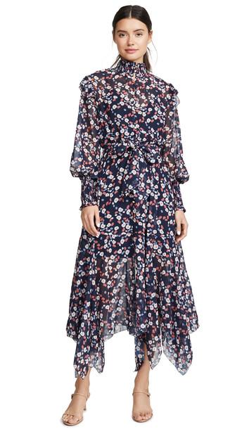Keepsake Charmed Long Sleeve Maxi Dress in navy