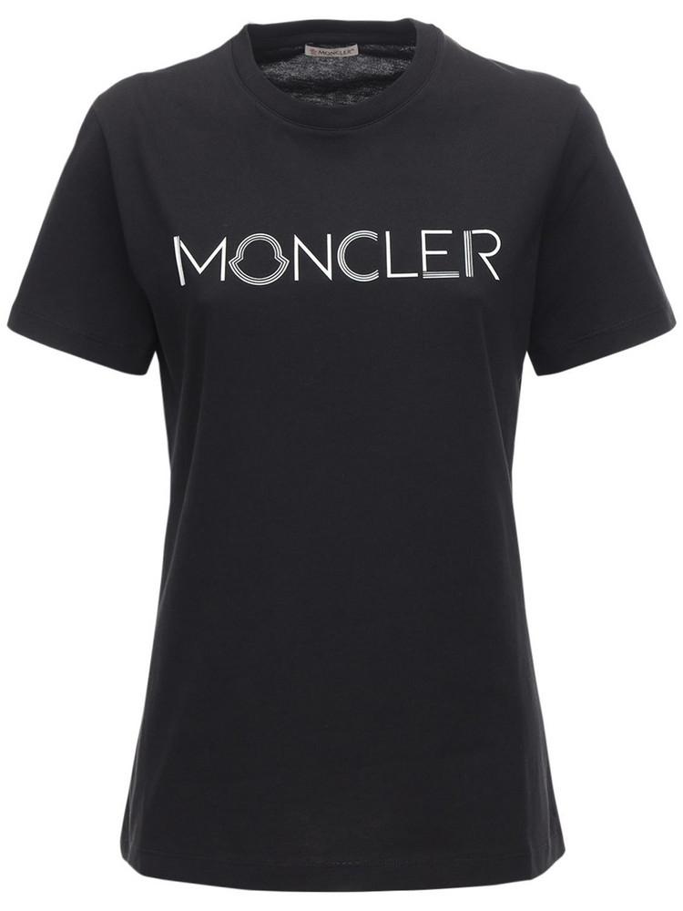 MONCLER Logo Cotton Jersey T-shirt in black / white