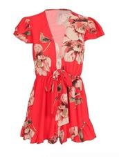 romper,red,floral,floral romper,red romper,red floral romper,ruffle sleeve,ruffle,deep v,plunging v,plunge neckline