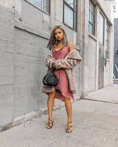 jacket,faux fur jacket,high heel sandals,pink dress,midi dress,satin,black bag,handbag