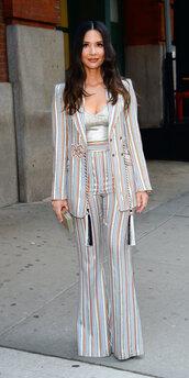 jacket,suit,stripes,striped pants,olivia munn,celebrity