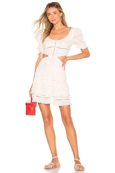 JONATHAN SIMKHAI Lace Combo Cut Out Mini Dress in white