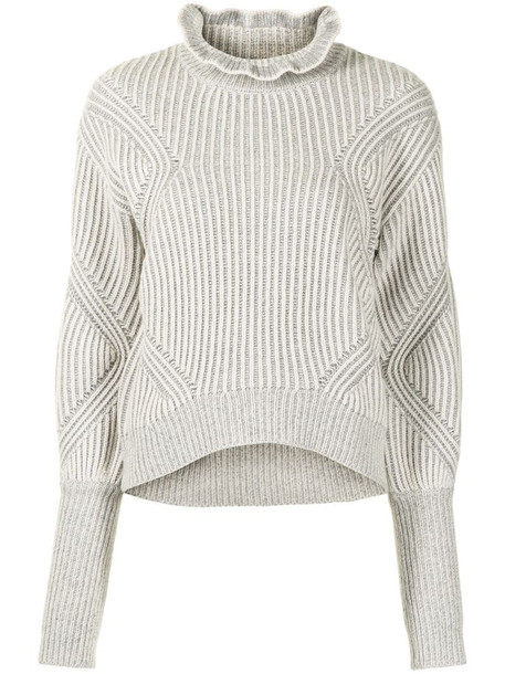 Veronica Beard ruffle-neck ribbed-knit jumper in grey