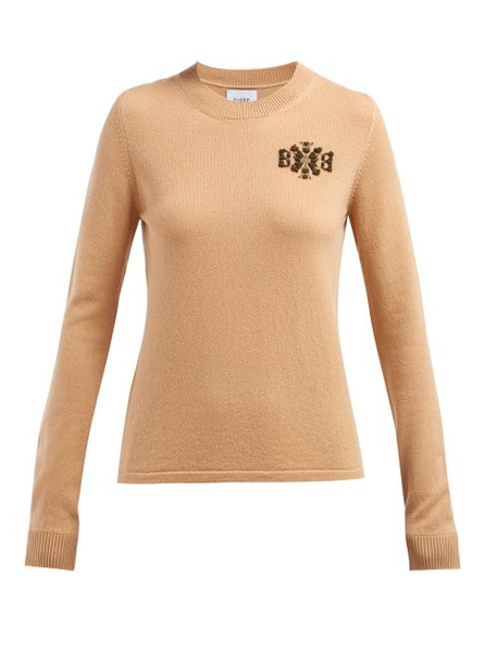 Barrie - Crest Intarsia Cashmere Sweater - Womens - Camel
