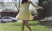 dress,spaghetti strap,cotton,yellow dress,skater dress,forever 21