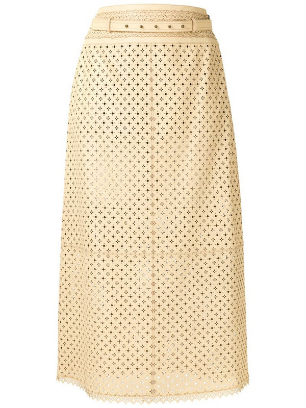 Nk leather midi skirt in neutrals