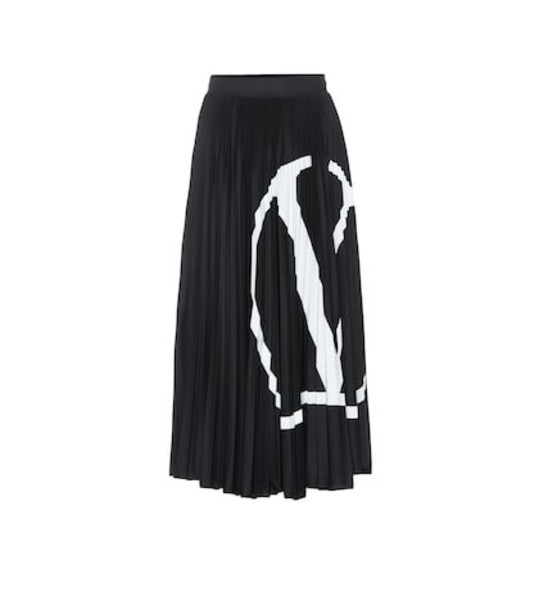 Valentino Printed jersey midi skirt in black