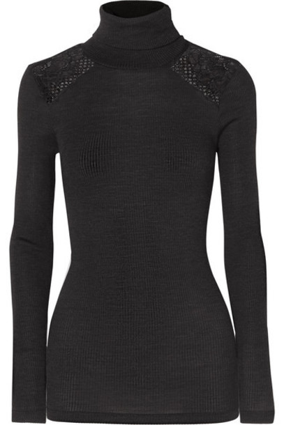 Hanro - Rubina Lace-trimmed Ribbed Wool And Silk-blend Turtleneck Top - Charcoal