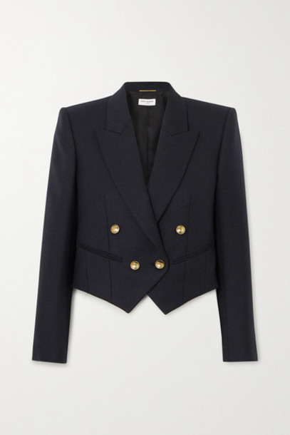 SAINT LAURENT - Cropped Double-breasted Wool-twill Blazer - Blue