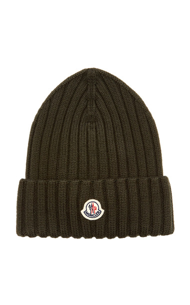Moncler Ribbed-Knit Wool Beanie in green