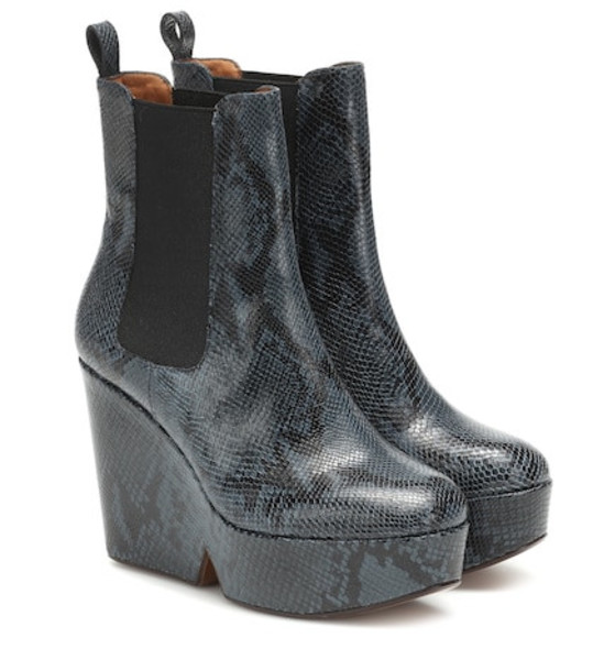 Clergerie Exclusive to Mytheresa – Beatrice snake-effect ankle boots in blue