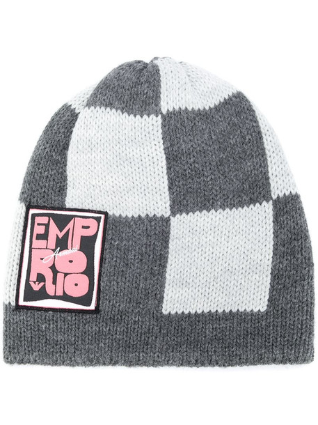 Emporio Armani checkered knitted beanie in grey