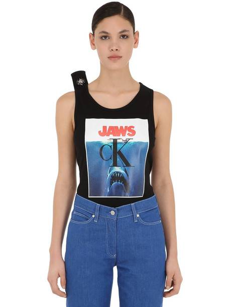 CALVIN KLEIN 205W39NYC Printed Cotton Jersey Ribbed Tank Top in black