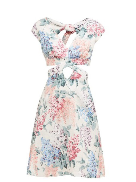 Ephemera - Bloom Cut Out Front Floral Print Linen Mini Dress - Womens - Blue Print