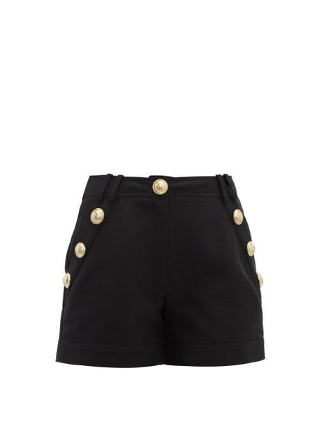 Balmain - Crest Buttoned Cotton Poplin Shorts - Womens - Black