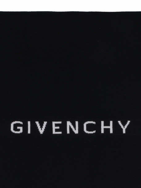Givenchy Wool Scarf With Logo Intarsia in black