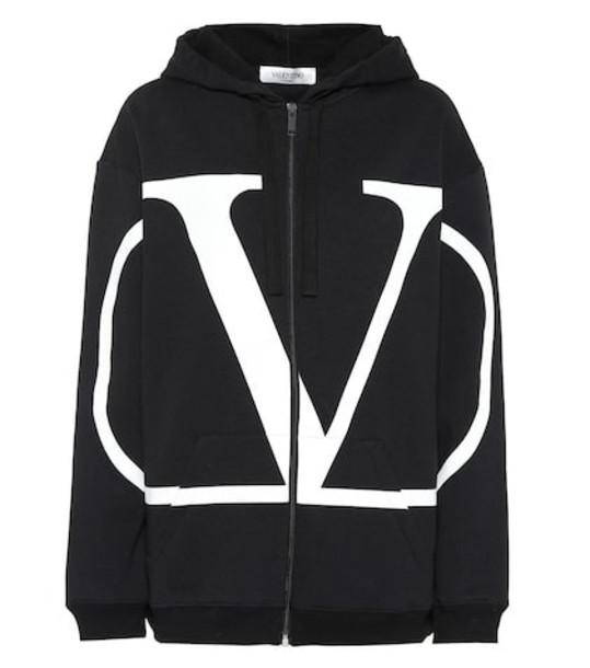 Valentino Cotton-blend hoodie in black