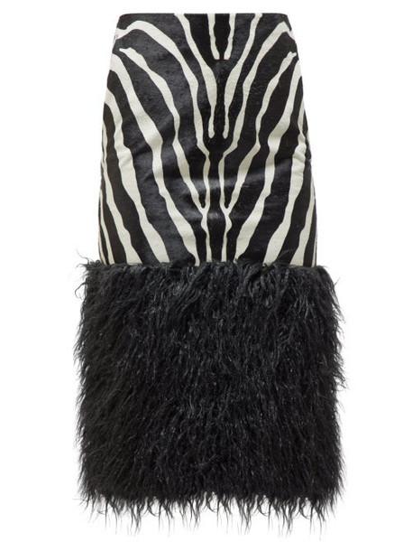 Saint Laurent - Zebra Print Calf Hair Skirt - Womens - Black White