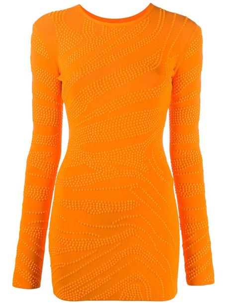 David Koma stud-embellished fitted dress in orange