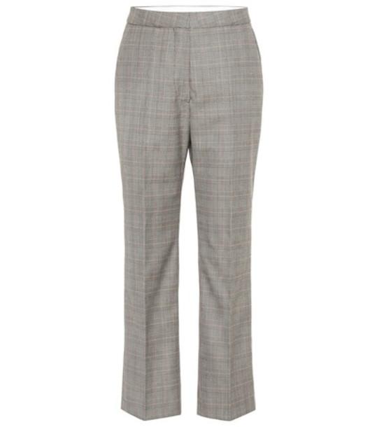 Stella McCartney High-rise checked wool pants in black